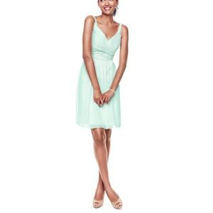 David's Bridal Chiffon V neck Mint Dress Sz 14